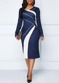 Printed V Neck Navy Long Sleeve Sheath Dress | Rosewe.com - USD $31.13 Casual Evening Dresses, Evening Dresses Plus Size, Plus Size Dresses, Dresses Dresses, African Fashion Dresses, African Dress, Office Dresses For Women, Long Sleeve Midi Dress, Dress Long