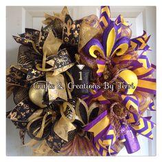New Orleans Saints and LSU football house divided wreath. Follow Created By Terri/Crafts & Creations By Terri facebook.com/CraftsandCreationsByTerri  www.etsy.com/shop/CreatedByTerri instagram.com/createdbyterri Twitter @ designsbyterri