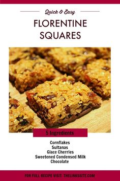 you have never tried Florentines before then you need to make these quick and easy Florentine Squares! Muffin Recipes, Cake Recipes, Snack Recipes, Cooking Recipes, Dinner Recipes, Fruit Recipes, Delicious Recipes, Keto Recipes, Florentines Recipe
