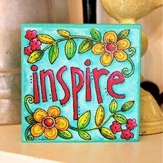 INSPIRE - Art Block - Inspirational - Stackable - Wall Decor- 4x4