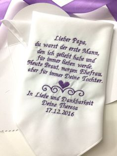 Deutsche Version Papa Hochzeit Taschentuch von EmbroiCollection1