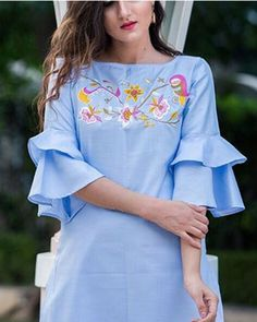 Best 11 Tulip sleeves tunic set by Dorii Kurti Sleeves Design, Kurta Neck Design, Sleeves Designs For Dresses, Sleeve Designs, Dresses With Sleeves, Kurta Designs Women, Blouse Designs, Stylish Dresses, Fashion Dresses