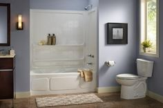 Yellow walls and subway tiles give this bathroom a classic, retro look.: Small Bathroom Ideas - Shower/Tub Unit