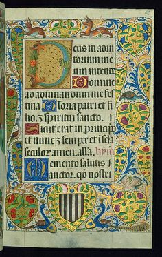 Almugavar Hours, Decorative border and incipit with floral and faunal motifs, Walters Manuscript W.420, fol. 66r by Walters Art Museum Illum...