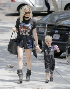 Rock on! Fergie, 41, channelled her inner rock chick while out with her nearly three-year-old son Axl in Brentwood, California