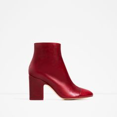 ZARA - WOMAN - HIGH HEEL LEATHER ANKLE BOOTS WITH TOE CAP