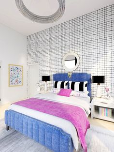 Eclectic Glam Bedroom eDesign with black and white wallpaper, blue velvet bed, and floral accents Floral Bedroom Decor, Guest Bedroom Decor, Glam Bedroom, Teen Room Decor, Velvet Bed, Blue Velvet, Black And White Wallpaper, White Bedding, Decor Styles