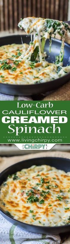 Low Carb Keto Recipes, Low-Carb Cauliflower Creamed Spinach -> a perfect low-carb vegetable side dish that tastes like a million bucks and would easily trick the kids into eating veggies! Keto Creamed Spinach, Spinach Recipes, Healthy Recipes, Low Carb Recipes, Vegetarian Recipes, Cooking Recipes, Potato Recipes, Pasta Recipes, Crockpot Recipes