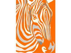 Zebra (Orange) - Poster Size Print