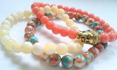Set of 3 Gemstone Bracelets Healing bracelets buddha by CMDetc, $29.00
