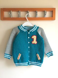 Kids crochet cardigan crochet pattern THIS IS A LISTING FOR CROCHET PATTERN ONLY NOT THE FINISHED ITEM Beautiful cardigan for little boys inspired by the letterman style jackets worn at college by the grown up boys. Originally published in Crochet Now Magazine issue 17 The pattern