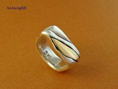 Anel em prata 950 e ouro 18k-(AnAuAg020)