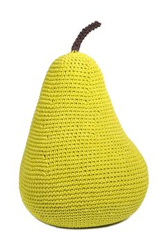 Pear Crochet cushion or beanbag & inspiration for a fabric beanbag cover Crochet Diy, Crochet Food, Fruits En Crochet, Textiles, Knitted Pouf, Knit Art, Crochet Cushions, Creation Couture, Mellow Yellow