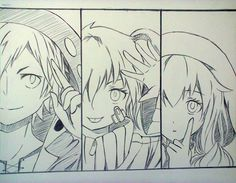 These are 3 characters that I like best in Mekakucity :3 Kano, Ene, Marry