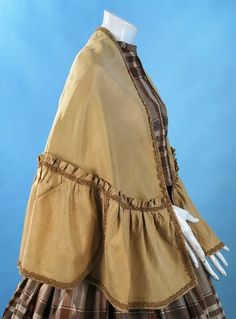 1860 Mustard Khaki Color Tussah Silk Mantle with Trimmings Hand Sewn