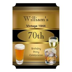 Vintage Mens 50th Birthday Party Gold Beer Card