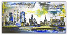 Acrylmalerei - Moskau Gemälde abstrakt Bild Kunst Original Acryl - ein Designerstück von burgstallers-art-galerie bei DaWanda #abstract artwork #skyline #tableau peinture #wohnzimmerbild #peinture #originalgemälde