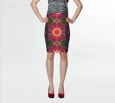 Lotus in Black and Red Satin , Fitted Skirt by Sherrie Larch. Artwork printed skirts to wear every day! Made with our signature knit fabric, milled in Montreal Purple Satin, Green Satin, Fall Skirts, Mini Skirts, Purple Fire, Green Fire, Fitted Skirt, Body Con Skirt, Casual Chic Style