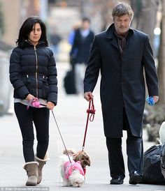 Alec Baldwin, 54, and his wife Hilaria Thomas, 28, were spotted walking their dogs in East Village, Manhattan #celebritywiththeirdogs