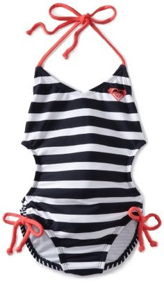 ♅ Modest yet stylish swimsuit for little girls.  -Roxy Kids Girls Tri One Piece Swimsuit.- My 8yr old would love this style.