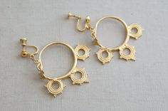 Vintage Gold Dangle Earrings | Alva Clip-ons by Sunnywood Vintage, $24.00