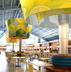 i like the idea of using massive lamp shades for the purpose of visual interest and lighting Modern Restaurant, Cafe Restaurant, Restaurant Design, Mall Design, Retail Design, Store Design, Food Court Design, Food Design, Food Retail