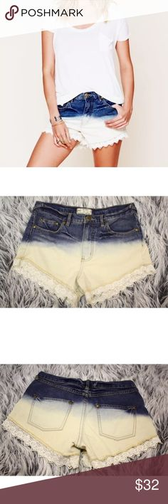 Free People Lacey Ombre Denim Cutoff Shorts Free People Lacey Ombre Denim Cutoff Shorts  $88   Sz 26  Blue Horizon Dip Dye Ombre  Distressed 5-pocket denim shorts with scalloped crochet trimming around bottom hems. Zipper and button fly. Some destroyed texture in places for a cool, worn-in feel and look. Bottom hems above the trimming are frayed.  100% Cotton Machine Wash Cold  Import Measurements: Waist 15.5 Hip 18 Front Rise 10.5 Inseam 3 PRE-OWNED: Gently used.  No significant flaws. Free…