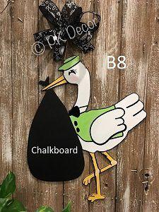 Hand Painted Stork Announcing Baby's Gender Wall Decor Baby Door Hangers, Hospital Door Hangers, Chalkboard Baby, Baby Gender, Party Signs, Stork, Baby Crafts, Baby Decor, Wood Doors