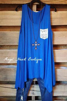 Summer Ready Tank - Royal Blue - Emerald - Top - Angel Heart Boutique