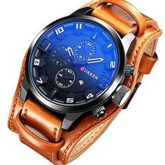 CURREN Watch Men Military Sport Digital Watch Waterproof Quartz Watch Leather Mens Watch Men Wristwatch *** Details can be found by clicking on the image.Note:It is affiliate link to Amazon.