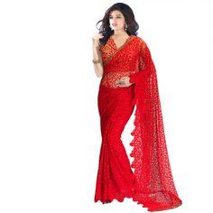 Club Art Decor Designer Red Saree: Amazon.in: Clothing & Accessories
