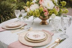 Beautiful vintage china and glasses.