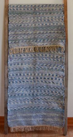 Hand Woven Rag Rug Blue Denim with Offset by StudioatRedTopRanch