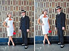 zoot suite weddings | Zoot Suit for him, short white dress for her at this wedding with ...