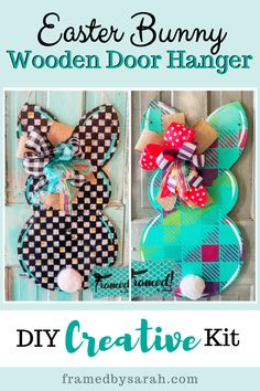 Bunny Door Hanger Blank or Finished Diy Crafts For Kids Easy, Easter Crafts For Kids, Creative Crafts, Easter Ideas, Arts And Crafts Kits, Craft Kits, Painted Wood Signs, Porch Ideas, Diys