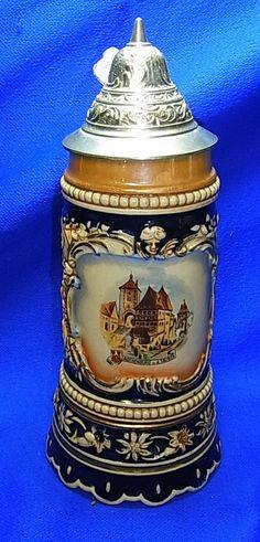 Vintage German Souvenir Rothenburg Tin Top Lidded Beer Stein Musical Box #XX