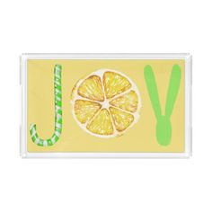 JOY typography script yellow and green holidays Acrylic Tray