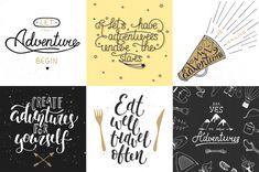 Set abenteuer und reisetypographie Premium Vektoren Adobe Illustrator, Handicraft, Layouts, Let It Be, Adventure, Sayings, Eat, Calligraphy, Vectors