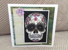 Day of the dead sugar skull, stamp by sheena Douglass