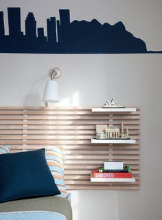 substitute a nightstand with this | photo by Ryann Ford for The New York Times Boy Headboard, Headboard With Lights, Modern Headboard, White Headboard, Headboard Designs, Headboards For Beds, Headboard Ideas, Cheap King Headboard, Floating Headboard