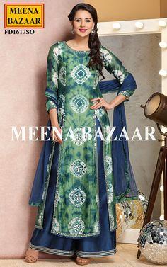 Green Chanderi Suit @ MeenaBazaar