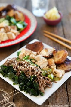 Vegan Soba Noodle Bowl here's to your health! Healthy Recipes, Raw Food Recipes, Veggie Recipes, Asian Recipes, Vegetarian Recipes, Cooking Recipes, Vegan Dishes, Vegan Food, Main Meals