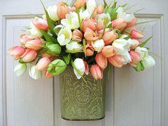 Orange Peach Green Tulip Wreath, Spring Wreaths, Easter Wreaths, Etsy Wreaths, Mothers Day Wreath Alternative by AWorkofHeartSA, $55.00