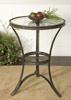 Bicycle wheel side table #bicycle #table #home