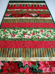 Quilted Table Runner  Christmas Prints  Red and by VillageQuilts