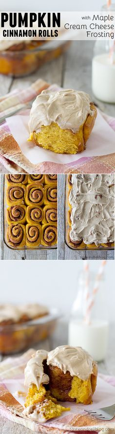 Pumpkin Cinnamon Rolls with Maple Cream Cheese Frosting - The flavors of the season are infused in these Pumpkin Cinnamon Rolls, topped with a creamy Maple Cinnamon Cream Cheese Frosting.