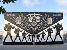 Shepard Fairey & CLEON PETERSON for Miami Art Basel in Miami, FL, USA, 2014 Shepard Fairy, Shepard Fairey Obey, Miami, Street Art, Galerie D'art En Ligne, Les Themes, Selling Art, Art Festival, Famous Artists