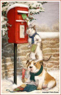 Vintage Christmas Art ~ - paint and art Christmas Scenes, Christmas Animals, Christmas Cats, Christmas Pictures, Christmas Cookies, Christmas Posters, Merry Christmas, Father Christmas, Christmas Cover