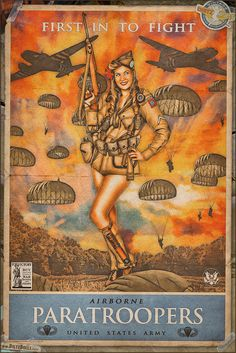 Today's pinup is another in the WW2 Propaganda Pinup Poster Series featuring Brittany and US Army Paratroopers! In addition to many propaganda posters showcasing the calls to ration, buy war bonds, work hard, keep quiet, and more; another popular type of poster were those that promoted the different branches of the Military. http://www.dietzdolls.com/catalog/product_info.php?products_id=43 || � Dietz Dolls: http://www.dietzdolls.com || Facebook: https://www.facebook.com/MomentsCapture