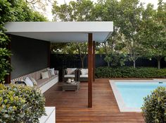 Pool and Cabana from our Lane Cove project. Pool Gazebo, Backyard Pool Landscaping, Backyard Pool Designs, Small Backyard Pools, Swimming Pools Backyard, Patio Design, Garden Design, Tropical Backyard, Pool Landscape Design